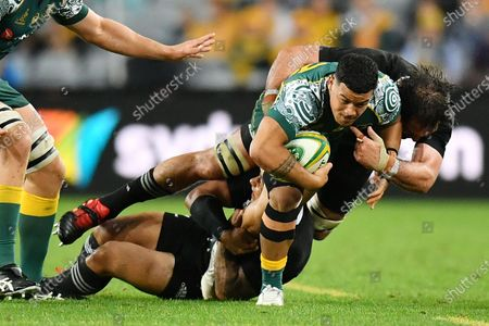 Hunter Paisami of the Wallabies is tackled by Samuel Whitelock of the All Blacks during the third Bledisloe Cup Rugby match between the New Zealand All Blacks and the Australian Wallabies at ANZ Stadium in Sydney, Australia, 31 October 2020.
