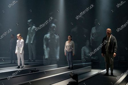 Stock Picture of Alfred Enoch as B, Erin Doherty as C, Wendy Kweh as M,  Jonathan Slinger as A