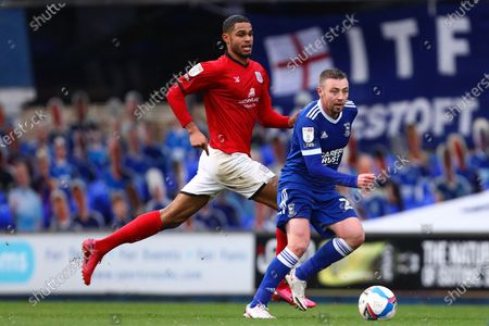 Freddie Sears of Ipswich Town and Mikael Mandron of Crewe Alexandra - Ipswich Town v Crewe Alexandra, Sky Bet League One, Portman Road, Ipswich, UK - 31st October 2020Editorial Use Only - DataCo restrictions apply