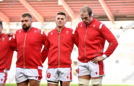 Tomas Francis, Jonathan Davies and Alun Wyn Jones of Wales during the anthems.