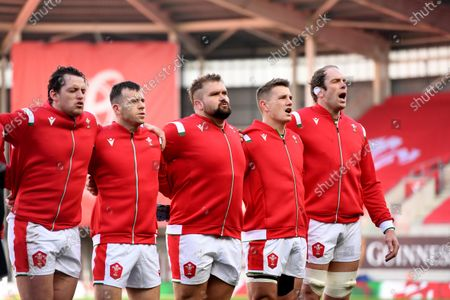 Ryan Elias, Gareth Davies, Tomas Francis, Jonathan Davies and Alun Wyn Jones of Wales during the anthems.