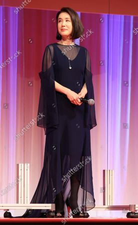 Japanese actress Mariko Tsutsui attends the opening ceremony of the Tokyo International Film Festival (TIFF) in Tokyo on Saturday, October 31, 2020. The TIFF will be held from October 31 through November 9.