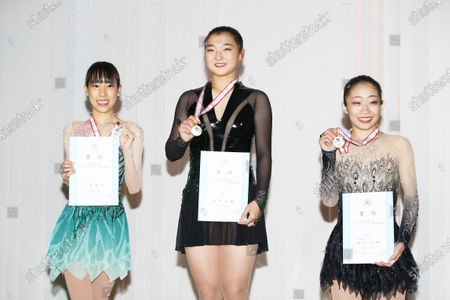 (L to R)  Mai Mihara,  Kaori Sakamoto,  Rin Nitaya - Figure Skating :  2020 West Japan Figure Skating Championships  Women's Award Ceremony  at Kyoto Aquarena, Kyoto, Japan.