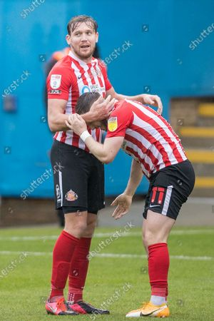 GOAL: Lynden Gooch, Midfielder with Sunderland AFC (11) scores a goal 0-2 and celebrates his goal with Charlie Wyke, Forward with Sunderland AFC (9) during the EFL Sky Bet League 1 match between Gillingham and Sunderland at the MEMS Priestfield Stadium, Gillingham