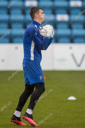 Scott Robinson, Midfielder with Gillingham (20) warming ahead of the EFL Sky Bet League 1 match between Gillingham and Sunderland at the MEMS Priestfield Stadium, Gillingham