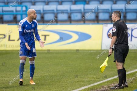Jordan Graham, Midfielder with Gillingham (10) talking with Anthony Da Costa (Assistant Referee) after his tackle with Tom Flanagan, Defender with Sunderland AFC (3) during the EFL Sky Bet League 1 match between Gillingham and Sunderland at the MEMS Priestfield Stadium, Gillingham