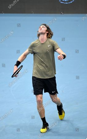 Andrey Rublev of Russia reacts during his semi final match against Kevin Anderson of South Africa at the Erste Bank Open ATP tennis tournament in Vienna, Austria, 31 October 2020.