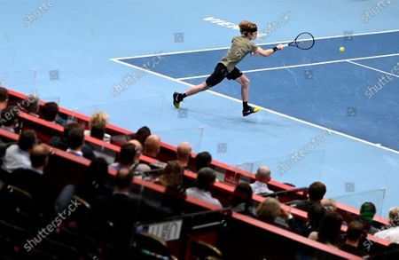 Andrey Rublev of Russia in action during his semi final match against Kevin Anderson of South Africa at the Erste Bank Open ATP tennis tournament in Vienna, Austria, 31 October 2020.