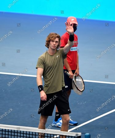 Andrey Rublev of Russia celebrates his victory after the semifinal match against Kevin Anderson of South Africa at the Erste Bank Open ATP tennis tournament in Vienna, Austria, 31 October 2020.