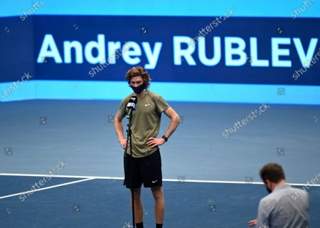 Andrey Rublev of Russia talks to the media  after the semifinal match against Kevin Anderson of South Africa at the Erste Bank Open ATP tennis tournament in Vienna, Austria, 31 October 2020.