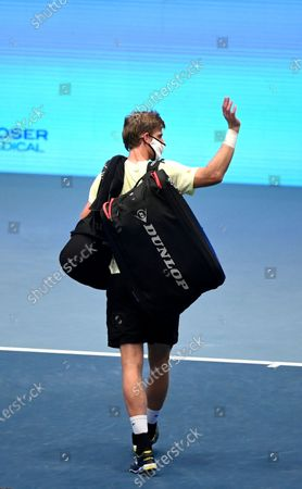 Kevin Anderson of South Africa leaves the tennis field after retiring from the match against Andrey Rublev of Russia  at the Erste Bank Open ATP tennis tournament in Vienna, Austria, 31 October 2020.