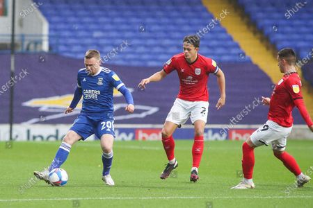 Ipswich Town forward Freddie Sears (20)  passes the ball during the EFL Sky Bet League 1 match between Ipswich Town and Crewe Alexandra at Portman Road, Ipswich