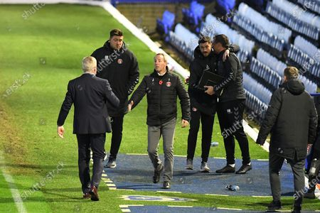 Kenny Jackett shakes hands with Charlton Athletic Manager Lee Bowyer at the end of the EFL Sky Bet League 1 match between Portsmouth and Charlton Athletic at Fratton Park, Portsmouth