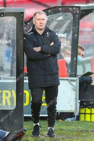 Salford City interim head coach Paul Scholes during the EFL Sky Bet League 2 match between Salford City and Oldham Athletic at the Peninsula Stadium, Salford