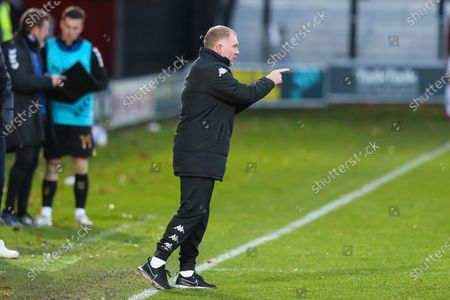 Salford City interim head coach Paul Scholes gesticulates during the EFL Sky Bet League 2 match between Salford City and Oldham Athletic at the Peninsula Stadium, Salford