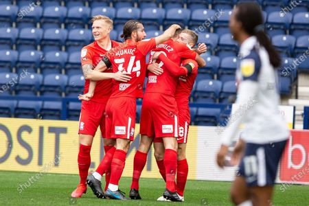 GOAL 0-1 Riley MCgree celebrate his goal with team-mates during the EFL Sky Bet Championship match between Preston North End and Birmingham City at Deepdale, Preston