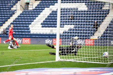 GOAL 0-1 Riley MCgree scores a goal during the EFL Sky Bet Championship match between Preston North End and Birmingham City at Deepdale, Preston