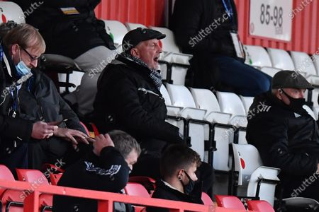 Grimsby Town F.C. Manager Ian Holloway shouts instructions from the stand during Stevenage vs Grimsby Town, Sky Bet EFL League 2 Football at the Lamex Stadium on 31st October 2020