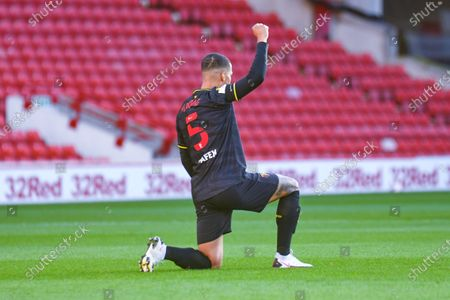 Watford defender William Troost-Ekong (5) gestures and reacts during the EFL Sky Bet Championship match between Barnsley and Watford at Oakwell, Barnsley