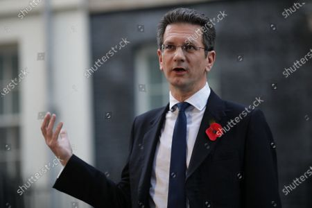 Stock Image of Steve Baker MP speaks to the media about the prospect of a new lockdown after leaving 10 Downing Street. Prime Minister Boris Johnson is expected to give a press conference this afternoon amid speculation that a nationwide lockdown is imminent to slow the spread of COVID-19.