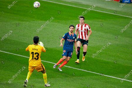 """Stock Picture of Jesus Navas of Sevilla CF and Jon Morcillo of Athletic Club and Yassine Bounou """"Bono"""" of Sevilla CF"""