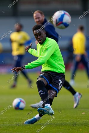 Stock Picture of Rochdale AFC Forward Fabio Tavares (17) full length single player portrait warming up before the EFL Sky Bet League 1 match between Rochdale and Bristol Rovers at the Crown Oil Arena, Rochdale