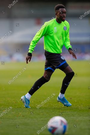 Stock Image of Rochdale AFC Forward Fabio Tavares (17) full length single player portrait warming up before the EFL Sky Bet League 1 match between Rochdale and Bristol Rovers at the Crown Oil Arena, Rochdale