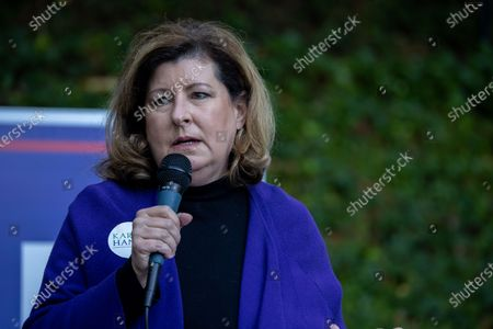 Stock Photo of Former Congresswoman and Republican Congressional candidate Karen Handel (GA-06) talks to supporters during a get out the event with Dr. Ben Carson, Secretary of HUD, in Atlanta on October 31st.