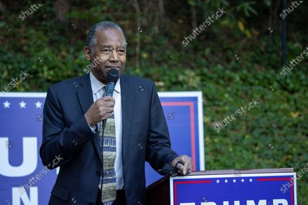 Stock Image of Secretary of HUD Dr. Ben Carson talks to supporters of Karen Handel and President Trump during a get out the vote event in Atlanta on October 31st.