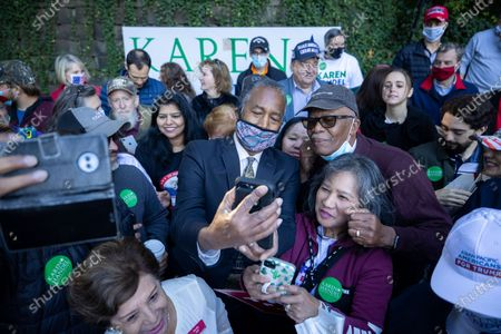Stock Image of Secretary of HUD Dr. Ben Carson greets supporters and takes at a get out the vote event in Atlanta on October 31st.