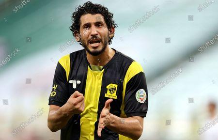 Stock Image of Al-Ittihad's player Ahmed Hegazi reacts during the Saudi Professional League soccer match between Al-Ittihad and Al-Ahli at King Abdullah Sport City Stadium, 30 kilometers north of Jeddah, Saudi Arabia, 31 October 2020.