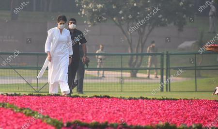 Congress General secretary Priyanka Gandhi Gandhi Vadra arrives to pay tribute to former Prime Minister Indira Gandhi on her 36th death anniversary, at Shakti Sthal, on October 31, 2020 in New Delhi, India.