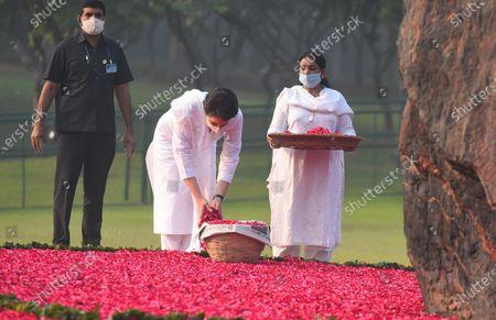 Congress General secretary Priyanka Gandhi Gandhi Vadra pays floral tribute to former Prime Minister Indira Gandhi on her 36th death anniversary at Shakti Sthal, on October 31, 2020 in New Delhi, India.
