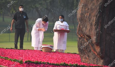 Congress General secretary Priyanka Gandhi Gandhi Vadra pays tribute to former Prime Minister Indira Gandhi on her 36th death anniversary, at Shakti Sthal, on October 31, 2020 in New Delhi, India.