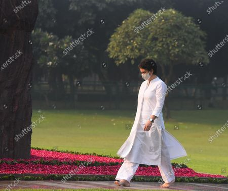 Stock Photo of Congress General secretary Priyanka Gandhi Gandhi Vadra arrives to pay tribute to former Prime Minister Indira Gandhi on her 36th death anniversary, at Shakti Sthal, on October 31, 2020 in New Delhi, India.