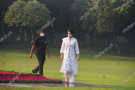 Stock Picture of Congress General secretary Priyanka Gandhi Gandhi Vadra arrives to pay tribute to former Prime Minister Indira Gandhi on her 36th death anniversary, at Shakti Sthal, on October 31, 2020 in New Delhi, India.