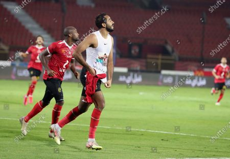 Al-Ahly player Mahmoud Kahraba celebrates after scoring during the Egyptian Premier League soccer match between Al-Ahly and Tala'ea El Gaish SC at Salam Stadium in Cairo Egypt, 31 October  2020