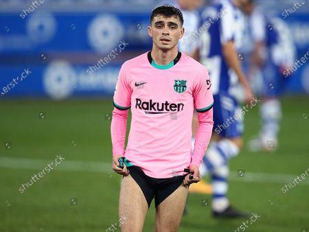 Stock Picture of Pedro Gonzalez Pedri of FC Barcelona reacts