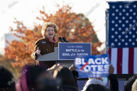 Stock Picture of Sen. Debbie Stabenow, D-Mich., speaks at a drive-in rally for Vice President Joe Biden on Belle Isle