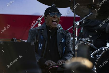 Stock Image of Stevie Wonder performs at a drive-in rally for Vice President Joe Biden on Belle Isle