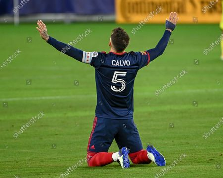 Chicago defender, Francisco Calvo (5), takes a moment to himself on the field during the MLS match between the Chicago Fire and Nashville SC at Nissan Stadium in Nashville, TN