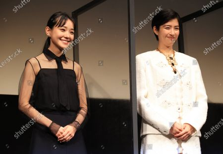 """Japanese actresseses Yui Sakuma (R) and Nao (L) smile for photo as they attend the world premiere of their movie """"Eternally Younger Than Those Idiots"""" for the Tokyo International Film Festival (TIFF) in Tokyo on Sunday, November 1, 2020."""