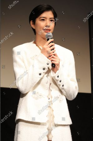 """Japanese actresse Yui Sakuma speaks as she attends the world premiere of their movie """"Eternally Younger Than Those Idiots"""" for the Tokyo International Film Festival (TIFF) in Tokyo on Sunday, November 1, 2020."""