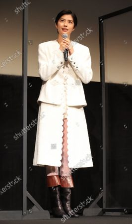 """Japanese actresses Yui Sakuma speaks as she attends the world premiere of their movie """"Eternally Younger Than Those Idiots"""" for the Tokyo International Film Festival (TIFF) in Tokyo on Sunday, November 1, 2020."""