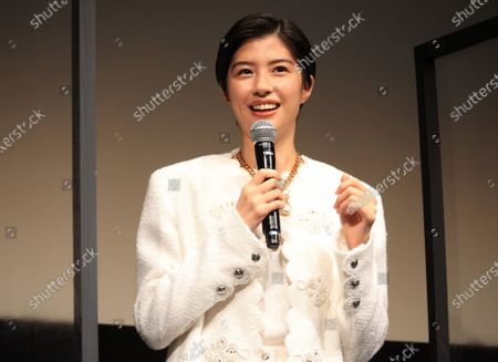 """Japanese actress Yui Sakuma speaks as she attends the world premiere of their movie """"Eternally Younger Than Those Idiots"""" for the Tokyo International Film Festival (TIFF) in Tokyo on Sunday, November 1, 2020."""