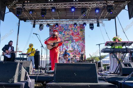 (L-R) Musicians Sam Cooper, Michael Byrnes, Matt Quinn, Sotiris Eliopoulos, and Jackie Miclau of Mt. Joy