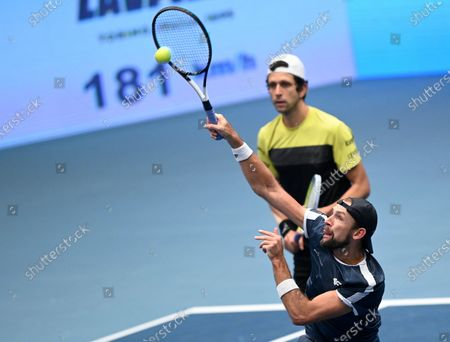 Lukasz Kubot of Poland (front) and Marcelo Melo of Brazil in action during their doubles final match against Jamie Murray and Neal Skupski of Britain at the Erste Bank Open ATP tennis tournament in Vienna, Austria, 01 November 2020.