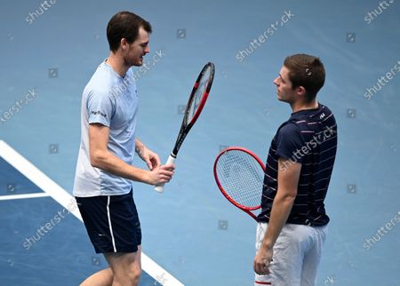 Jamie Murray (L) and Neal Skupski (R) of Britain in action during their doubles final match against Lukasz Kubot of Poland and Marcelo Melo of Brazil at the Erste Bank Open ATP tennis tournament in Vienna, Austria, 01 November 2020.