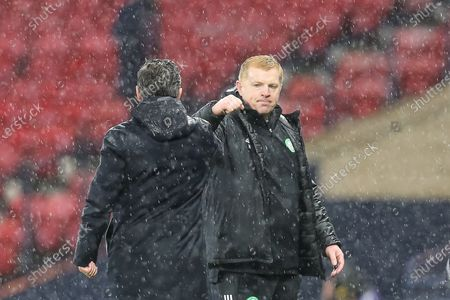 Celtic Manager Neil Lennon and Aberdeen Manager Derek McInnes during the William Hill Scottish Cup semi-final match between Celtic and Aberdeen at Hampden Park, Glasgow