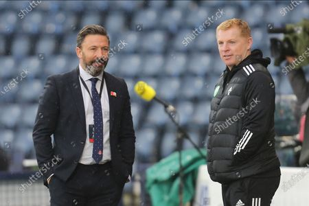 Aberdeen Manager Derek McInnes and Celtic Manager Neil Lennon during the William Hill Scottish Cup semi-final match between Celtic and Aberdeen at Hampden Park, Glasgow